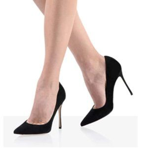 FSJ Black Suede Pointed Toe Stiletto Heel Pump